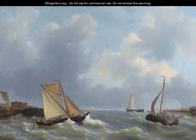 Busy shipping by a jetty - Petrus Jan Schotel