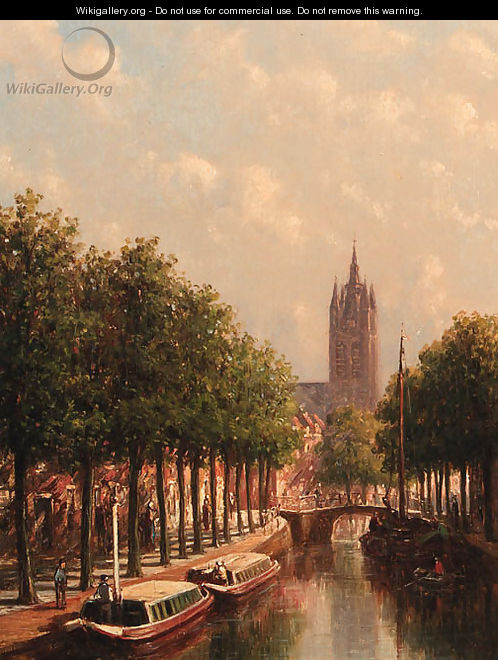 Moored canal boats along the Oude Delft, Delft, with the Oude Kerk towering in the background - Pieter Gerard Vertin