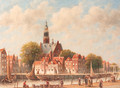 A view of the Schans, Maassluis, with the Grote Kerk beyond - Pieter Gerard Vertin
