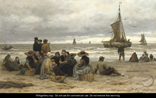 The arrival of the fleet fisher-folk on the beach - Philippe Lodowyck Jacob Sadee