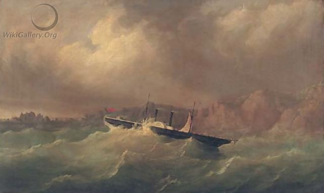 The Channel Islands paddle steamer Dispatch in a perilous situation off La Moye Signal Station, 17th October 1851 - Philip John Ouless