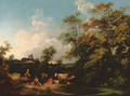 A wooded river landscape with a milkmaid, herdsman and cattle, a church beyond - Philip Jacques de Loutherbourg