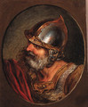 Head of a Roman soldier, in a painted oval - Philip Jacques de Loutherbourg