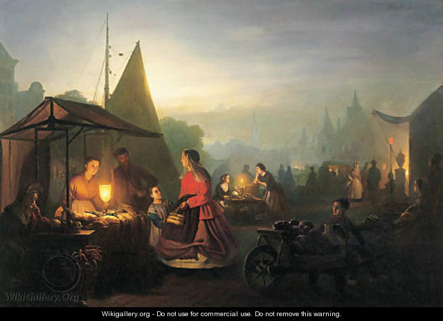 The evening market 2 - Petrus Van Schendel