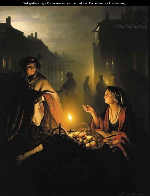 The apple seller - Petrus Van Schendel