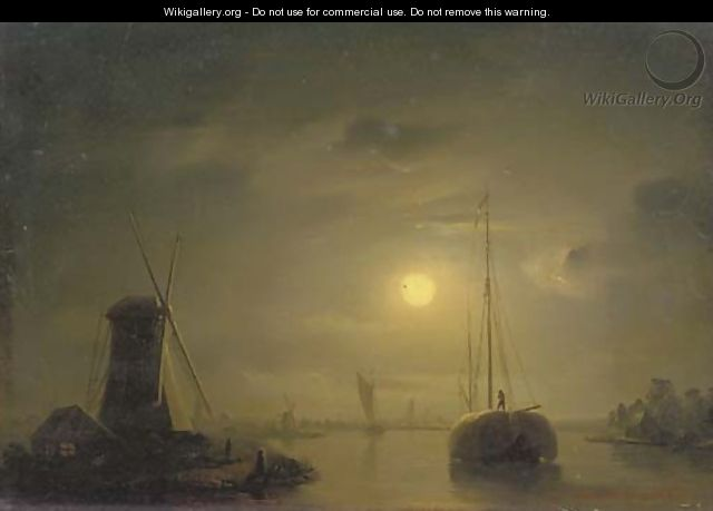 A haybarge on a moonlit river - Petrus Van Schendel