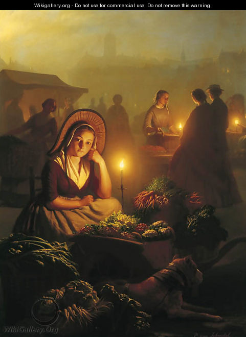 A girl selling vegetables at the night-market with the Dam Palace and the Nieuwe Kerk in the distance, Amsterdam - Petrus Van Schendel
