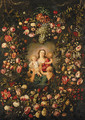 A garland of fruit and flowers surrounding a personification of Charity - Phillipe de Marlier