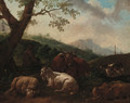 A drover resting with a cow, sheep and dog in a landscape - Philipp Peter Roos
