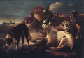 A dog drinking at a pool by sheep and a goat, a shepherd and a ruin beyond - Philipp Peter Roos