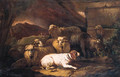 Sheep, a goat, rams and a spaniel resting by a stone wall in an Italianate landscape - Philipp Peter Roos