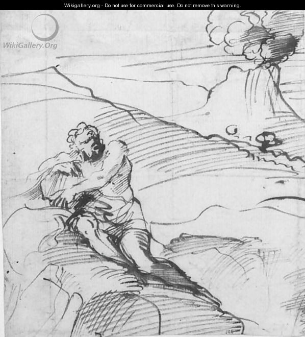 Polyphemus sitting on a mountain in an extensive landscape - Pier Francesco Mola