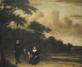 Group portrait of a gentleman and a lady with their children in an extensive wooded landscape - Philips Koninck