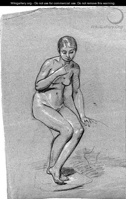 A seated female nude, looking down - Pauline Auzou