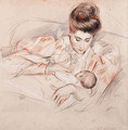 Mother and Child - Paul Cesar Helleu