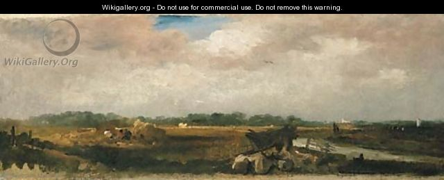 Haymaking with a distant view of Lincoln - Peter de Wint