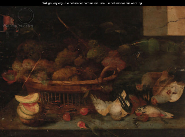 A basket of grapes, with other fruit and dead birds on a ledge - Peter Paul Binoit