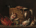 A pheasant, pigeon, owl, and a basket with a partridge, duck, lapwing and woodcock on a ledge - Pieter Andreas Rysbrack