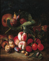 Peaches, plums, medlar, figs on a vine, an apple, mushrooms and a beetle on a forest floor - Pieter Snyers