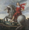 An equestrian portrait of the Cardinal-Infante Ferdinand (1609-1641), an extensive river landscape beyond - Pauwels I van Hillegaert