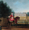 Portrait of a nobleman on horseback, a palace and gardens beyond - Peter Tillemans