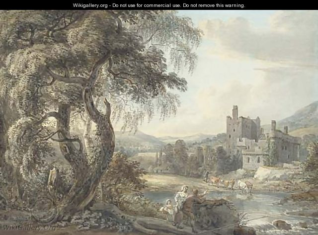 A wooded river landscape with figures and cattle, a castle beyond - Paul Sandby
