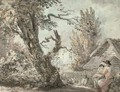 A mother and child seated in a garden - Paul Sandby