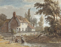 A cottage by a river with figures in the foreground - Paul Sandby