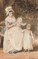 Two of the artist's children with their nurse, seated in a garden - Paul Sandby