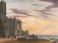 The North Terrace of Windsor Castle looking west - Paul Sandby