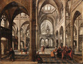 The Interior of a Gothic cathedral with Christ among the doctors - Paul Vredeman de Vries