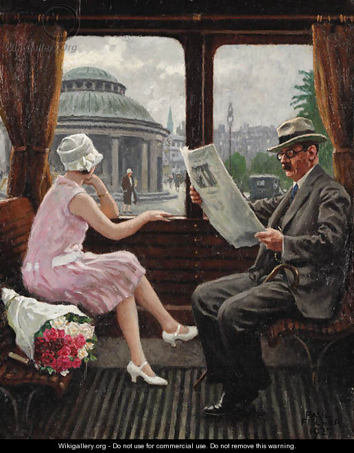 In the train compartment - Paul-Gustave Fischer