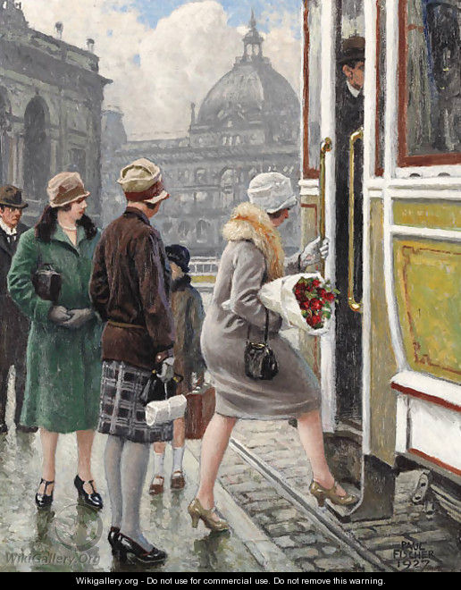 At the tram stop - Paul-Gustave Fischer