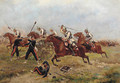 German cavalry charging French artillery - Paul Emile Leon Perboyre