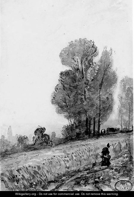 A woman walking on a road in Normandy - Paul Huet