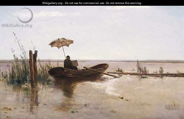 A painter (W.B. Tholen ) at work in a punter on a sunny day - Paul Joseph Constantine Gabriel