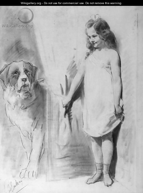Young girl with St. Bernard - Otto Eerelman
