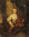A Woman, en deshabill, holding a Carafe and a Goblet, sitting on a partially draped Balcony - Ottmar, the Younger Elliger
