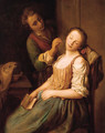 A young man teasing a sleeping woman - Ottilie Hornig Von Geyer
