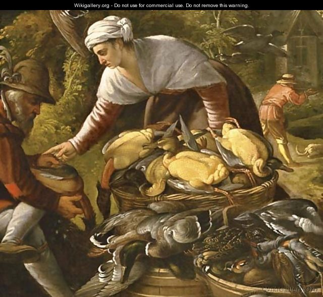 Peasants plucking ducks by a wood, a hunter beyond - Paolo Fiammingo