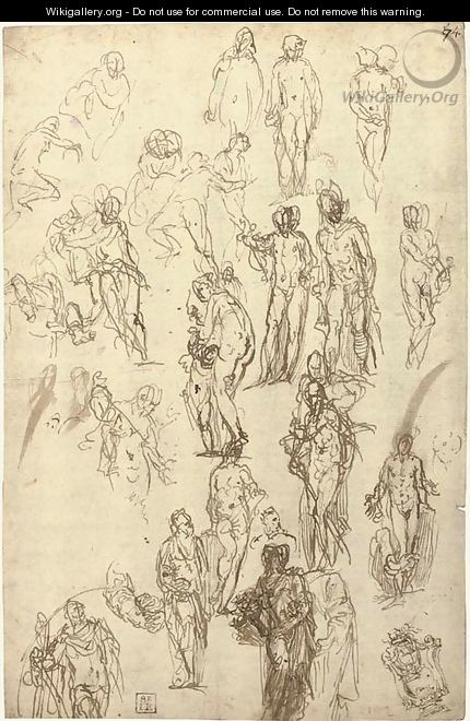 Studies of Mercury, Venus, Cupid and Saturn and other figures - Paolo Veronese (Caliari)