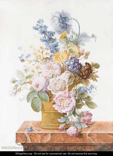 A bouquet of roses, chrysanthemums, auricula, hyacinth, a poppy, harebells and other flowers in a basket on a marble ledge with a butterfly - Pancrace Bessa