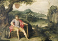 Hercules seated at the foot of a tree in a landscape - Otto van Veen