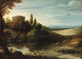 A landscape with a drover and cattle watering at a pond - Paul Bril