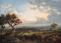An extensive Landscape, with figures and cattle in the foreground and a village beyond - Patrick Nasmyth