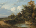 A wooded river landscape with a traveller on a track - Patrick Nasmyth