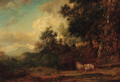 A shepherd and sheep in a wooded landscape - Patrick Nasmyth