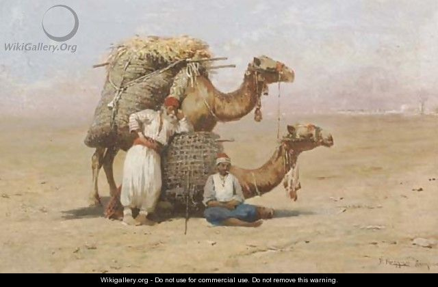 Two Arabs resting with their camels - Pasquale Ruggiero