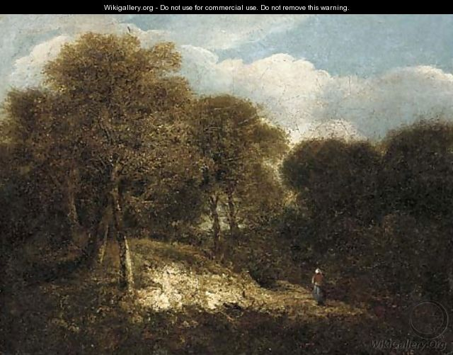 Figures on a path in a wooded landscape - Norwegian School
