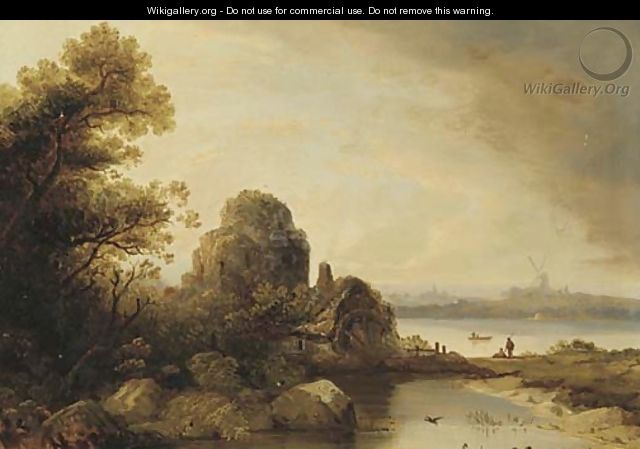 Figures by a watermill in a river landscape, a windmill beyond - Norwegian School